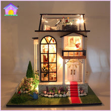White Wooden Dollhouse with lights and music