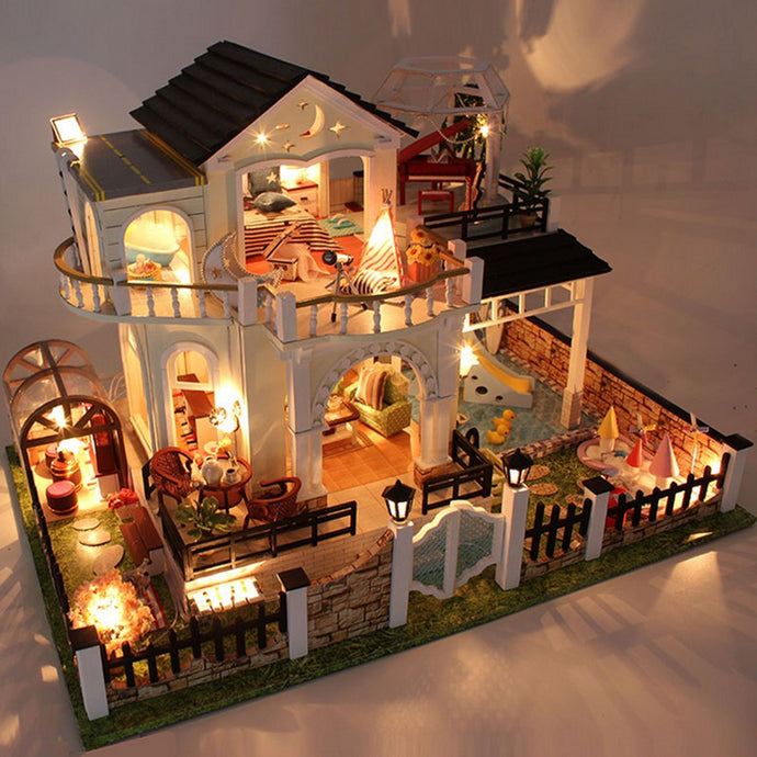 Hoomeda DIY Wood Dollhouse W/ LED Furniture Cover Music Happy Together