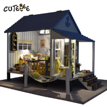 Wooden Doll House Caribbean Beach Cottage w/Furniture Miniature DIY Kit