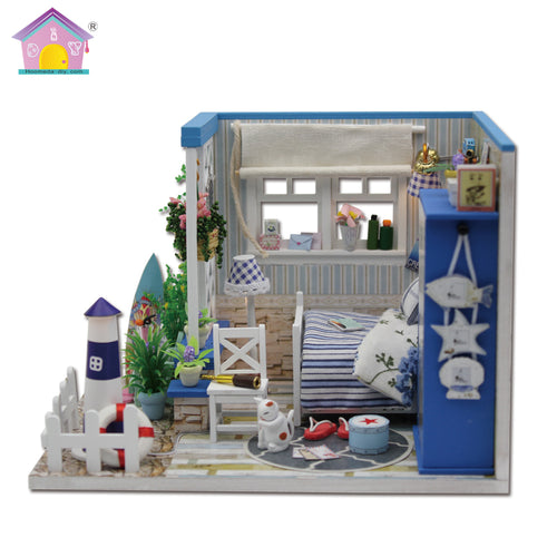 Beach Cottage Dollhouse Room DIY Kit Side View