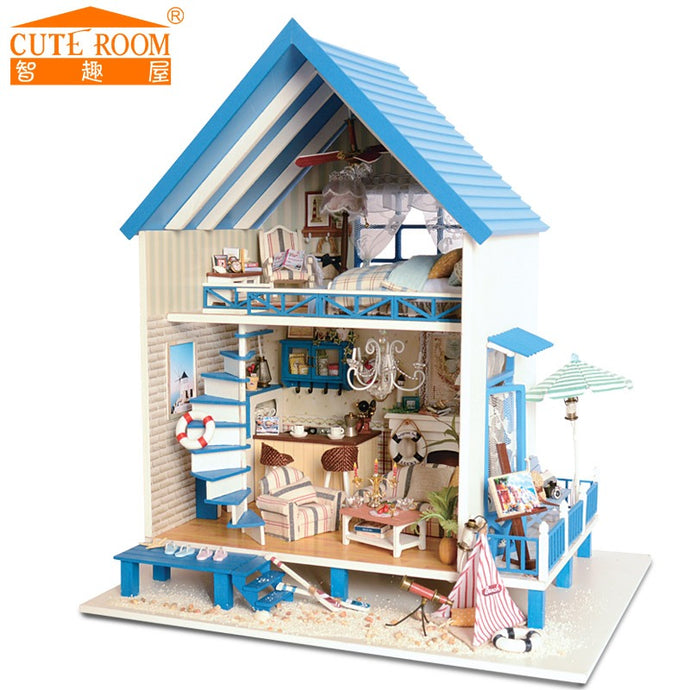 Caribbean Beach Cottage Dollhouse DIY Kit with Led Light back view