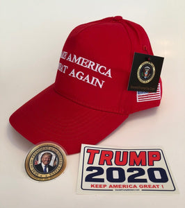 Make America Great Again Combo Deal Donald Trump Baseball Cap Hat+ 2 Decals