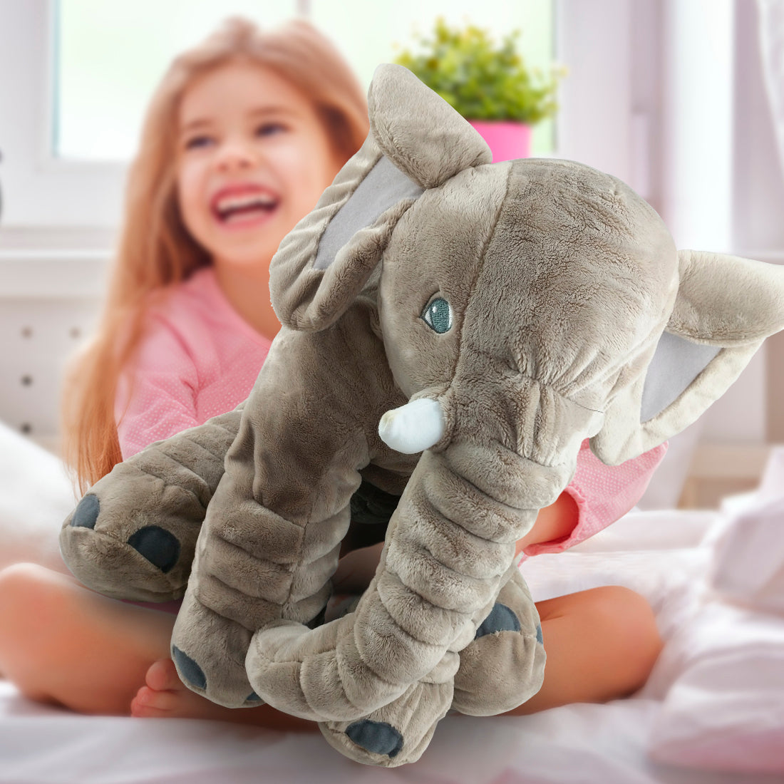 Large Adorable Stuffed Elephant Toy - Cute Soft Plush Cuddly Fabric Pillow