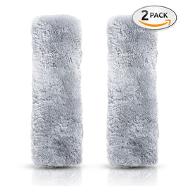 2 pack - Nice Cozy Cute Faux Sheepskin Car Seat Belt Pads - Plush & Comfortable Fabric