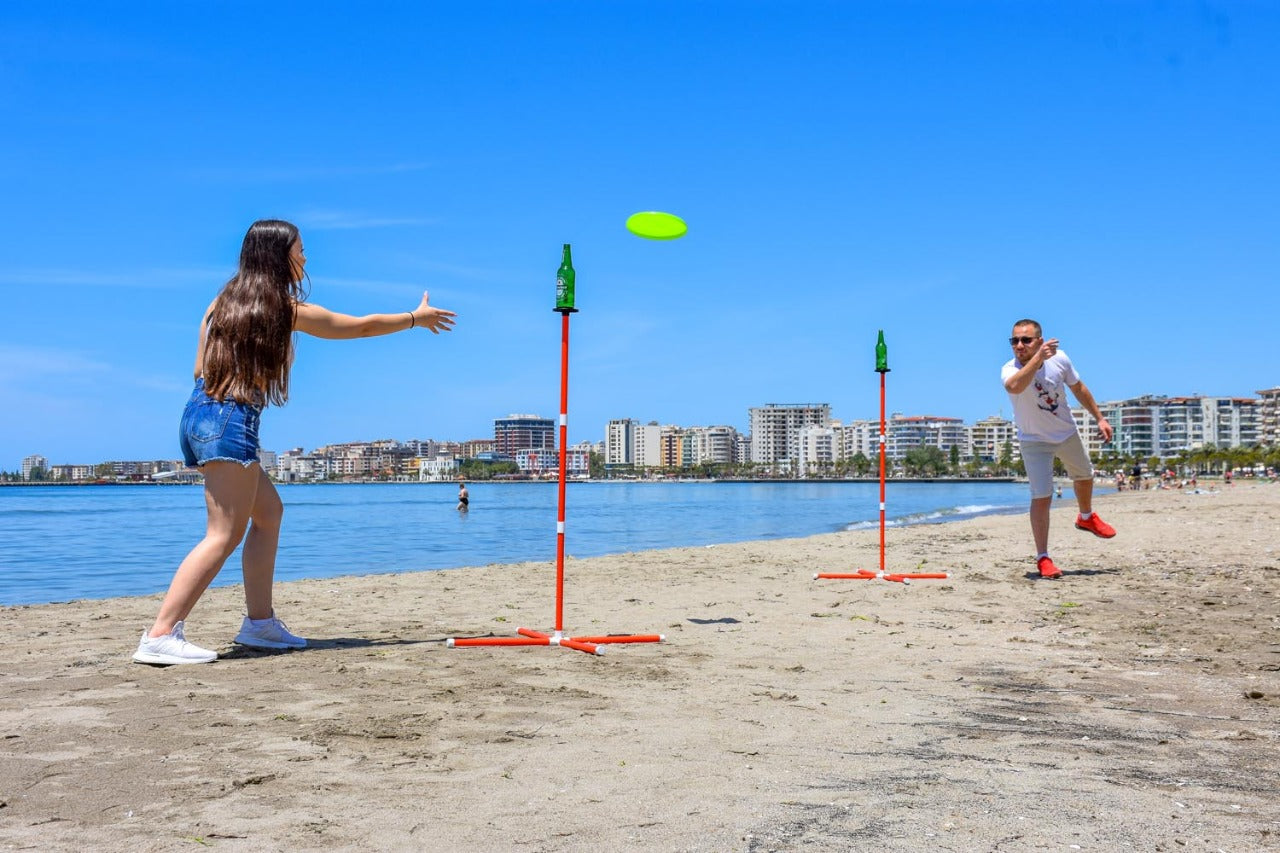 Back Yard Games for Adults and Kids, Fun and Interactive Toss Frisbee Game for Beach, Sand, Camp or Park Use, Quick Set Up for Disc, Bottle, Ring or Throwing Play