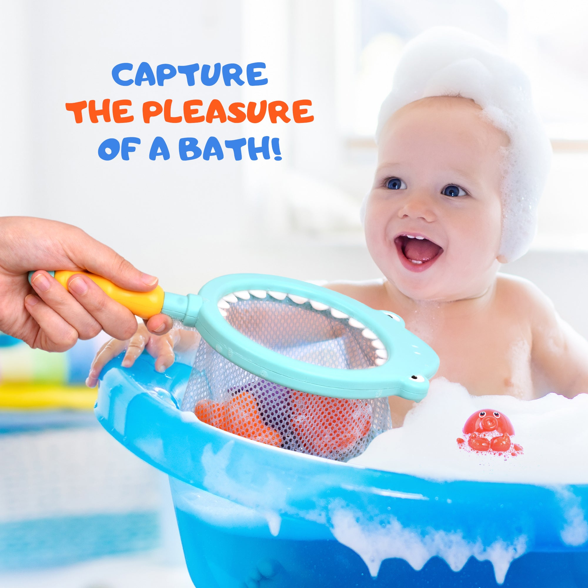 Bath Toy with Fishing Net, Floating Animals, Catch Shark Net Game, Bathtub Fishing Play Set for Babies and Kids