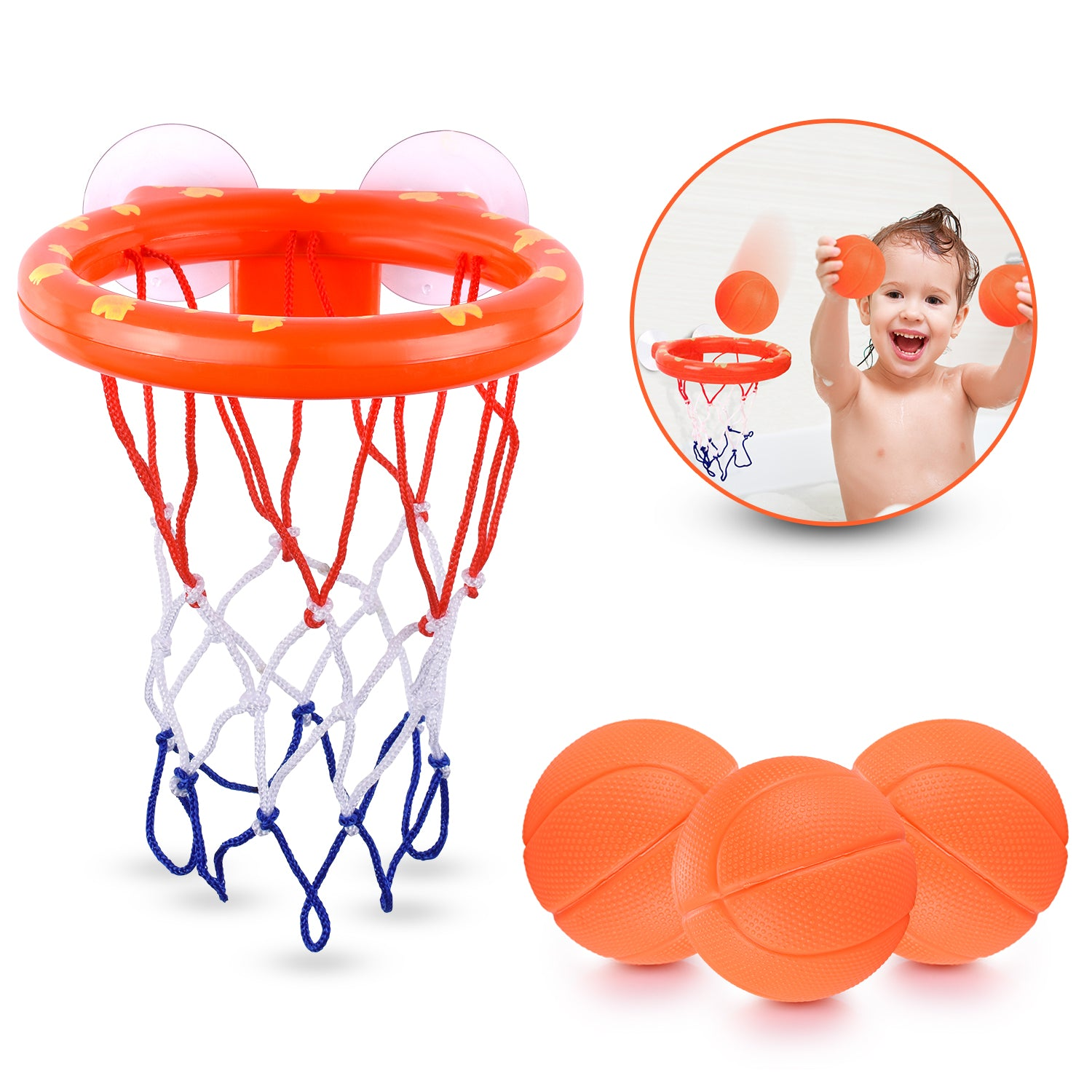 Fun Basketball Hoop & Balls Playset for Little Boys & Girls | Bathtub Shooting Game for Kids & Toddlers | Suctions Cups That Stick to Any Flat Surface + 3 Balls Included