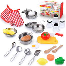 BRITENWAY Kids Kitchen Toy Set, Educational Kitchen Play Accessories and Utensil Cooking Toys with Stainless Steel Cookware Pot and Pan Set, Wooden Cooking Utensils, Grocery, Apron, Mitts and Hat