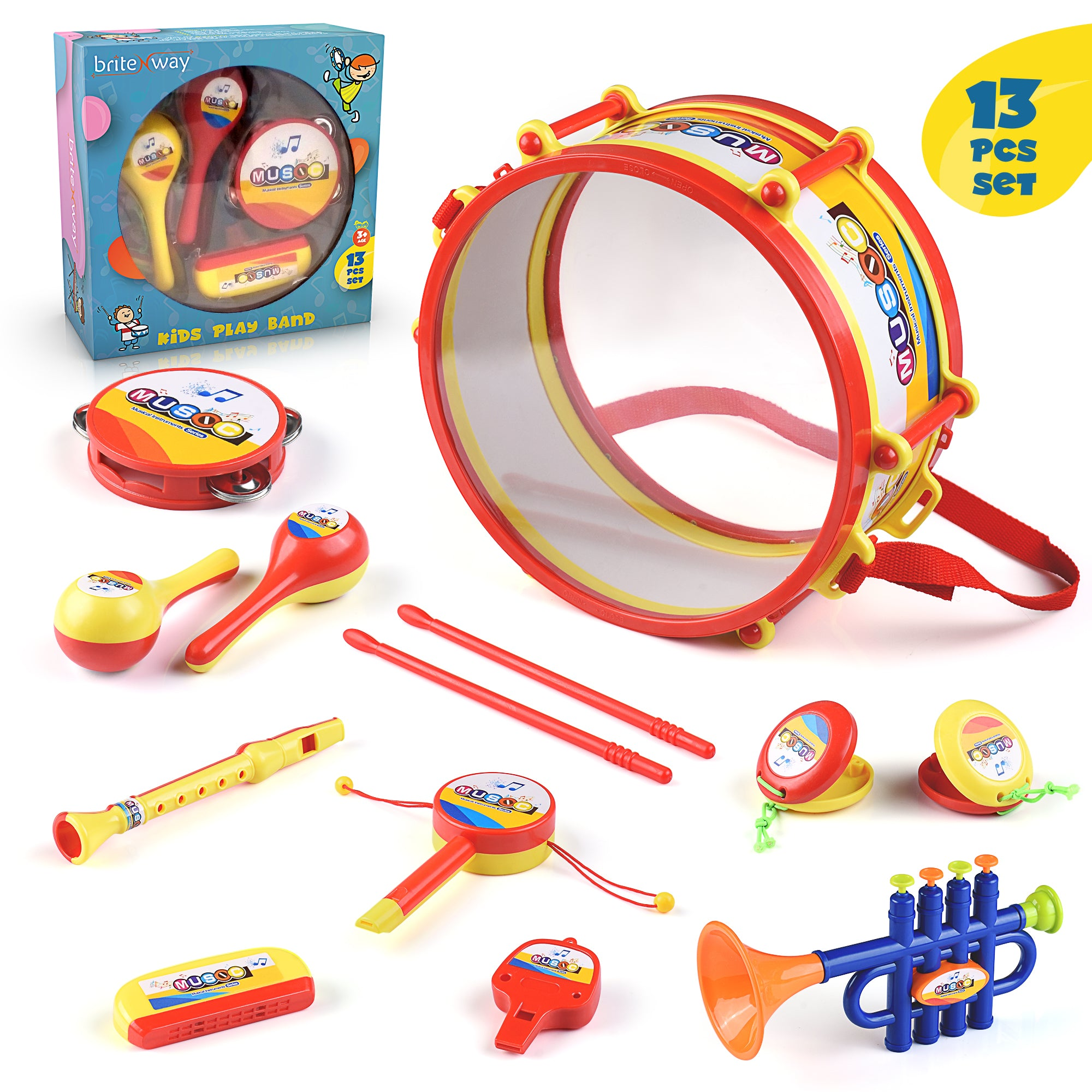 BRITENWAY. Toddler Music Toys, Percussion Musical Instruments for Boys and Girls, Educational Musical Toy Set with Kids Drum Set, Percussion, Tambourine, Trumpet, Maraca, Harmonica, Flute
