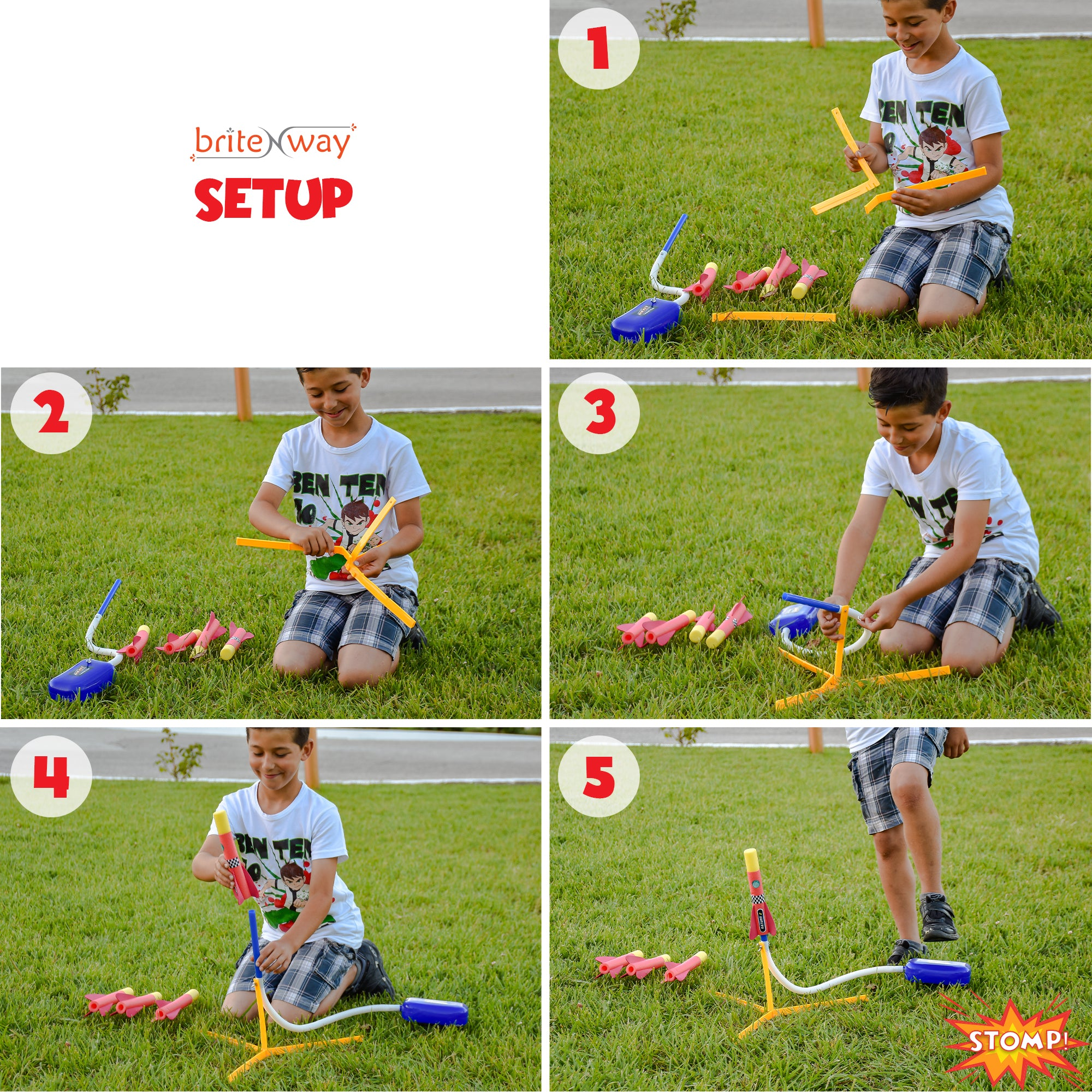 Toy Rocket Launcher for kids – Shoots Up to 100 Feet – 4 Colorful Foam Rockets and Sturdy Launcher Stand With Foot Launch Pad - Super Fun Outdoor Toy for Kids