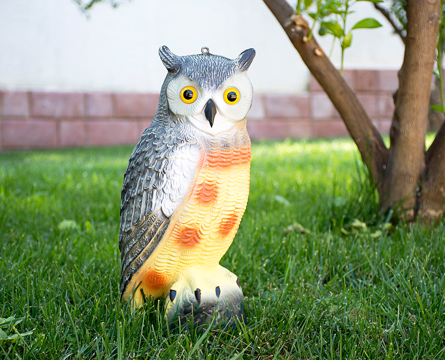 "Large 16.5"" Scarecrow Owl Decoy - Realistic Fake Hand-Painted Garden Protector"