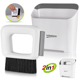 Mini Dustpan, and Squeegee Small Hand Broom Counter Brush Cleaning Set with Squeegee Edge, Kitchen and Bathroom Handbroom for Countertops or Personal Areas