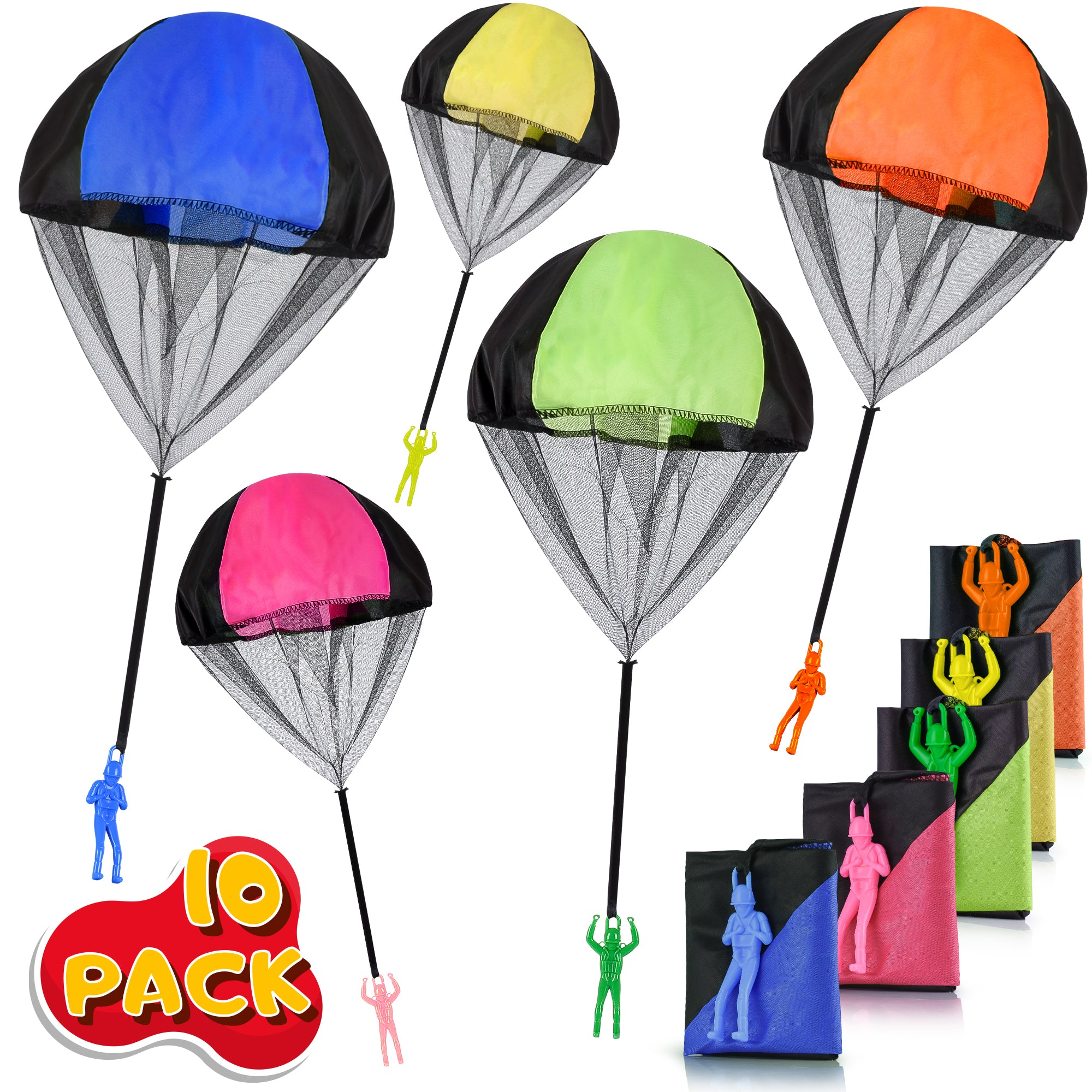 Parachute Toy, Tangle Free Throwing Toy Parachute, Outdoor Children's Flying Toys, No Assembly Required (10 Pieces Set)