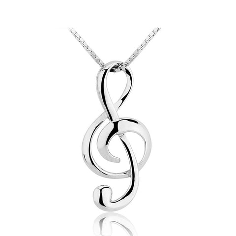 Ronux jewel Sterling Silver Necklace with classic music note pendant for women, music lovers accessories