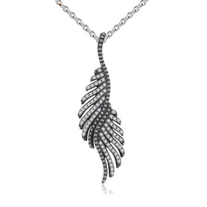 Ronux jewel 925 sterling silver phoenix bird wing feather shape pendant necklace for women
