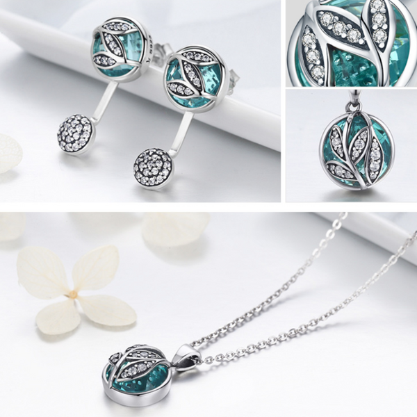 Ronux Jewel luxurious Crystal tree of life 3 piece Jewellery Set including pendant necklace, ring and stud earrings