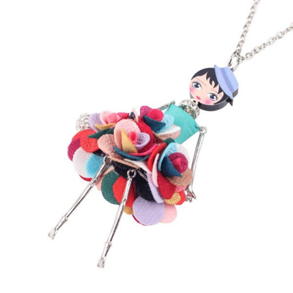 Ronux Jewel cute french doll with floral skirt long chain pendant necklace for girls and women