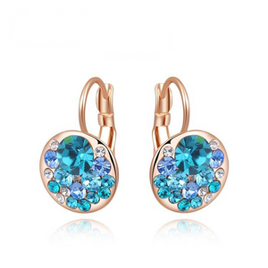 Ronux Jewel women fashion rose gold round shape geometric stud earrings with oceanic blue crystals