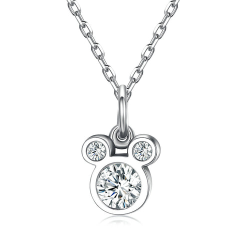 Ronux jewel 925 sterling silver sparkling Disney Mickey mouse pendant necklace for girls and women, Disney accessorise
