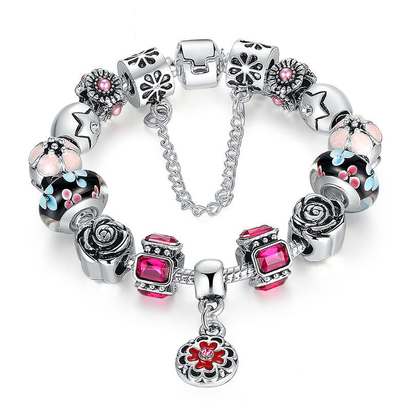 Ronux jewel star and rose flower beads in blue and pink friendship charm bracelet for women