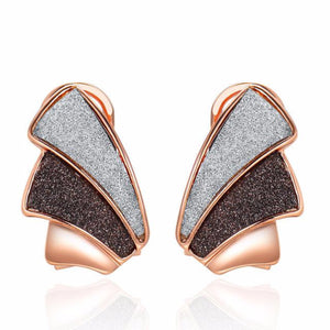 Ronux jewel women modern trendy geometric grey black rose gold stud earrings