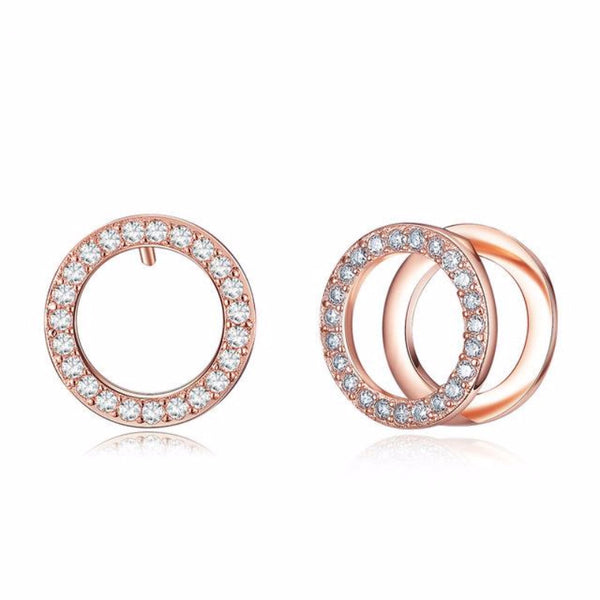 Ronux jewel women fashion double circle rose gold hoop stud earrings with rhinestone