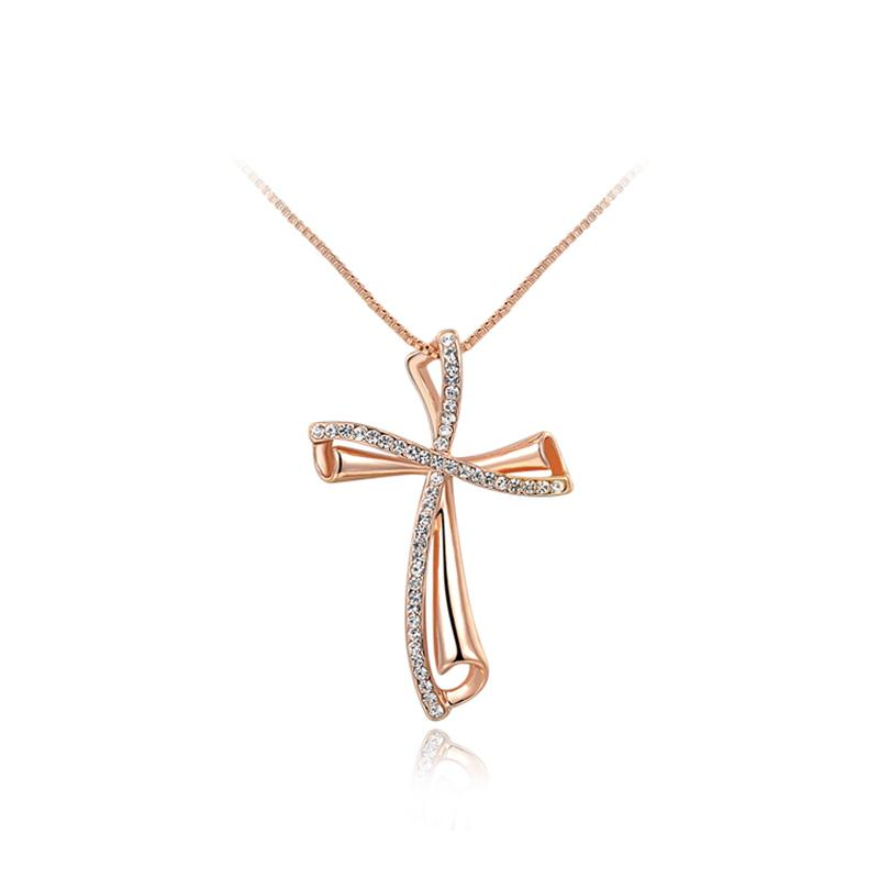 Ronux Jewel affordable trendy rose gold crystal cross shape bow pendant necklace for women