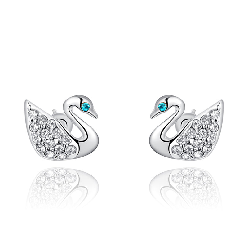 Ronux Jewel fashion small stud earrings, animal lovers cute earrings, women swan bird shape silver stud earrings with clear crystal and blue eyes