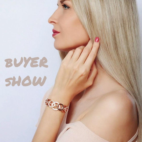Ronux jewel women elegant double layer round bracelet in rose gold, trendy Double Layer Chain Bracelet