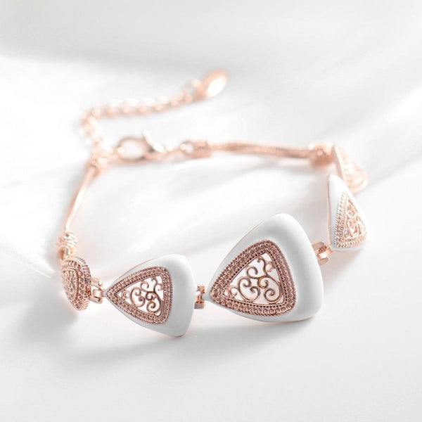 Ronux jewel women fashion rose gold rhinestone and white enamel crafts vintage triangle shape bracelet