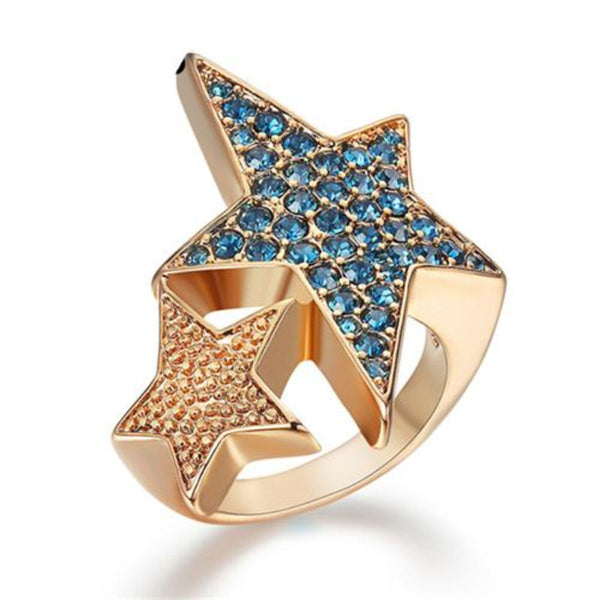 Ronux jewel women two linked star coffee gold cocktail wide ring, vintage ring for women
