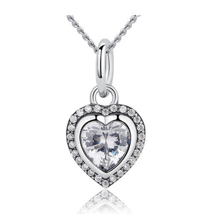 Ronux jewel 925 sterling silver classic heart shape pendant necklace with sparkling cubic zirconia stones for women
