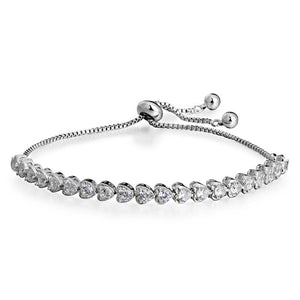 Ronux Jewel women silver tennis bracelet with multiple cubic zirconia hearts,  friendship bracelet