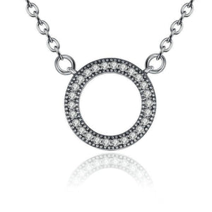 Ronux jewel 925 sterling silver classic round shape pendant necklace with cubic zirconia stones and heart carvings for women