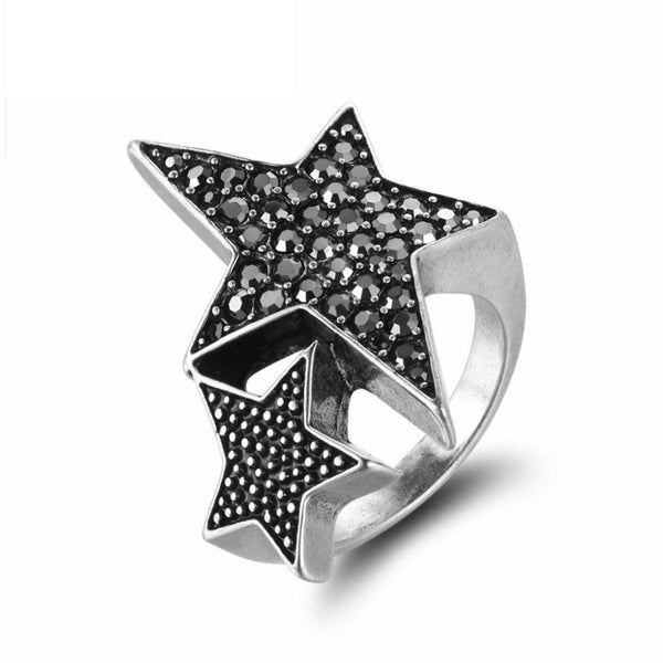 Ronux jewel women two linked star silver cocktail wide ring, vintage ring for women