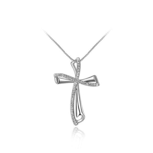 Ronux Jewel affordable trendy silver crystal cross shape bow pendant necklace for women