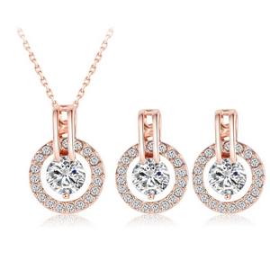 Ronux Jewel Rose Gold classic round shape 2 piece jewellery set including pendant necklace and earrings, bridesmaid fine jewellery set