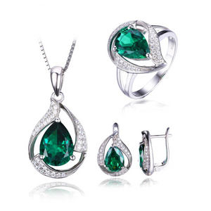 Ronux Jewel Women Bridal 925 sterling silver luxurious Jewellery Set,  pendant necklace, ring, clip earrings, real green emerald gemstone, wedding ring, engagement ring, wedding fine jewellery