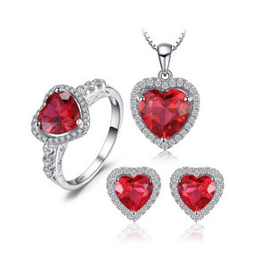 Ronux Jewel bridal gemstone jewellery gift set, sterling silver luxurious heart shape red ruby 3 piece Jewellery Set including pendant necklace, ring, stud earrings