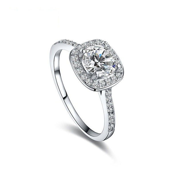 Ronux Jewel affordable fashionable women silver wedding and engagement classic ring with cubic zirconia gemstone