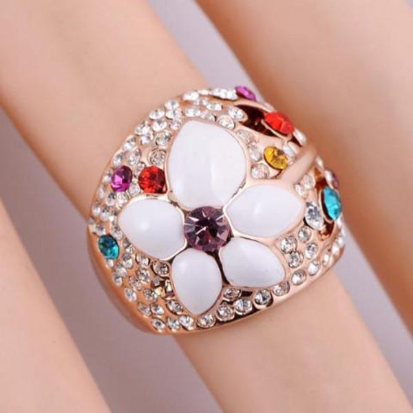 Ronux Jewel women fashionable cheap Bridal set, colourful flower shape rose gold ring, wedding ring