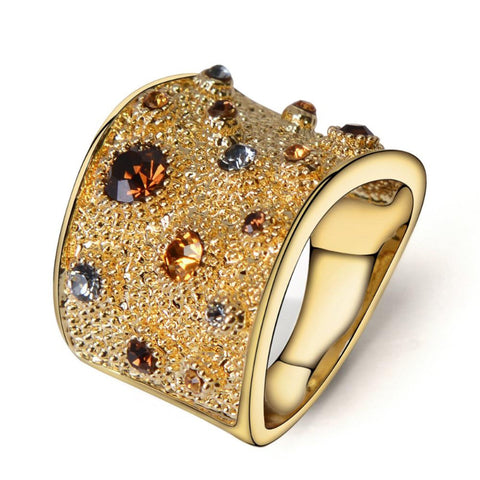 Ronux Jewel trendy Avant-garde gold colour women geometric wide thick ring with multicolour crystal and rhinestone