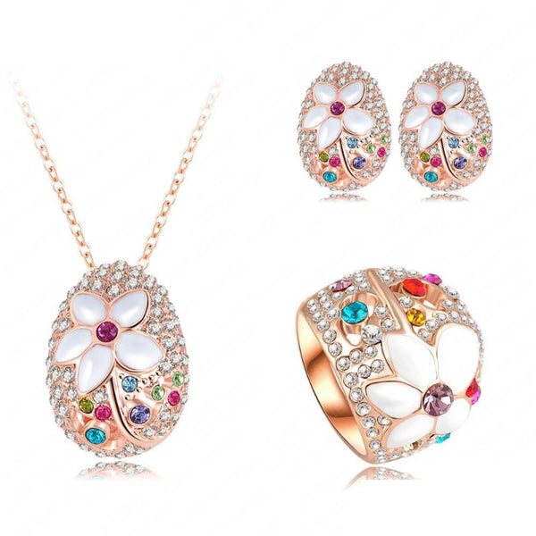 Ronux Jewel women fashionable cheap Bridal set, colourful flower shape rose gold 3 piece Jewellery Set including pendant necklace, ring and earrings