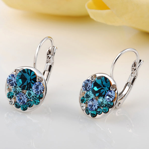 Ronux Jewel women fashion silver round shape geometric stud earrings with oceanic blue crystals