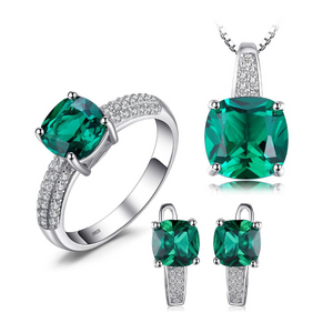 Ronux Jewel classic bridal gemstone jewellery gift set, sterling silver luxurious green Emerald 3 piece Jewellery Set including pendant necklace, ring, clip earrings