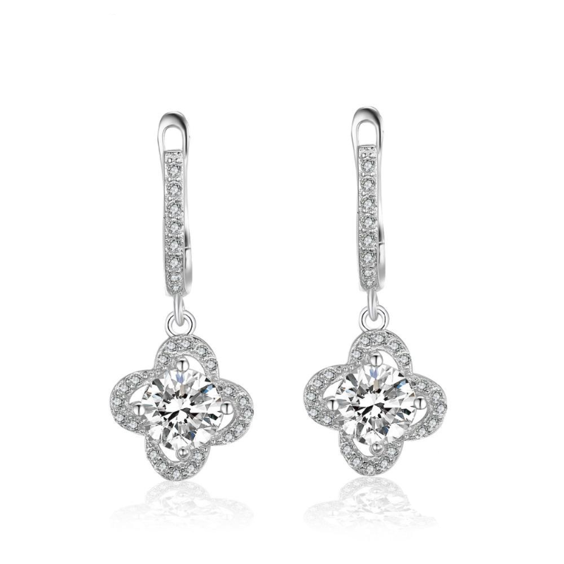 women 925 sterling silver cubic zirconia crystal clover leave shape drop earrings, flower shape long drop bridal earrings