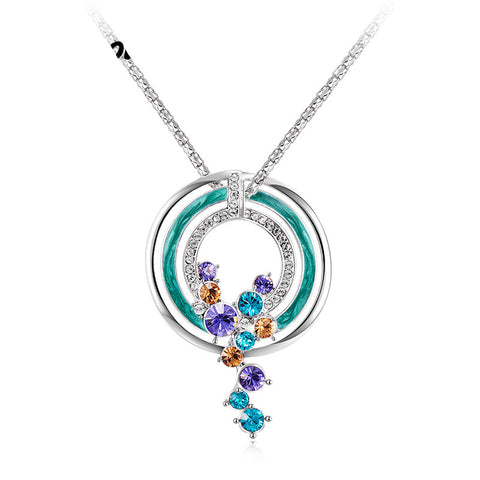 Ronux jewel blue round moon pendant necklace with hanging colourful rhinestones for women