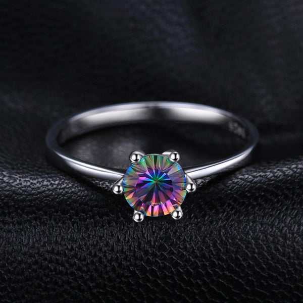 Ronux Jewel bridal gemstone wedding ring, sterling silver luxurious round shape rainbow mystic topaz engagement ring