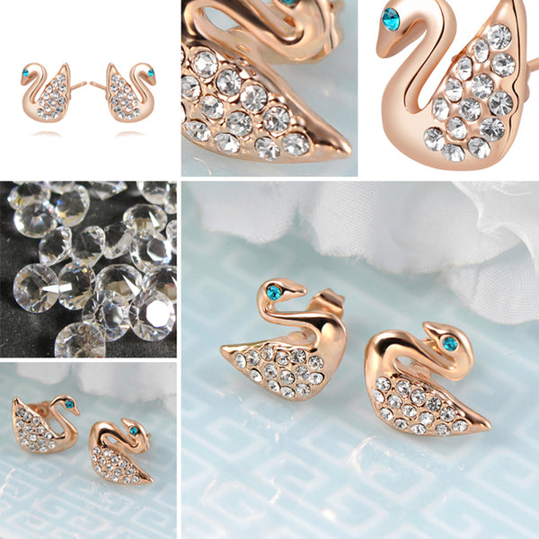 Ronux Jewel fashion small stud earrings, animal lovers cute earrings, women swan bird shape rose gold stud earrings with clear crystals and blue eyes