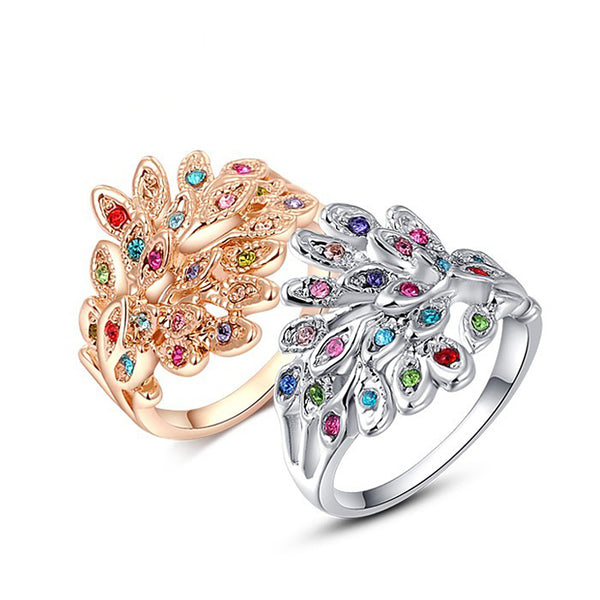 Ronux Jewel affordable fashionable colourful Austrian crystal feather shape rose gold and silver  ring